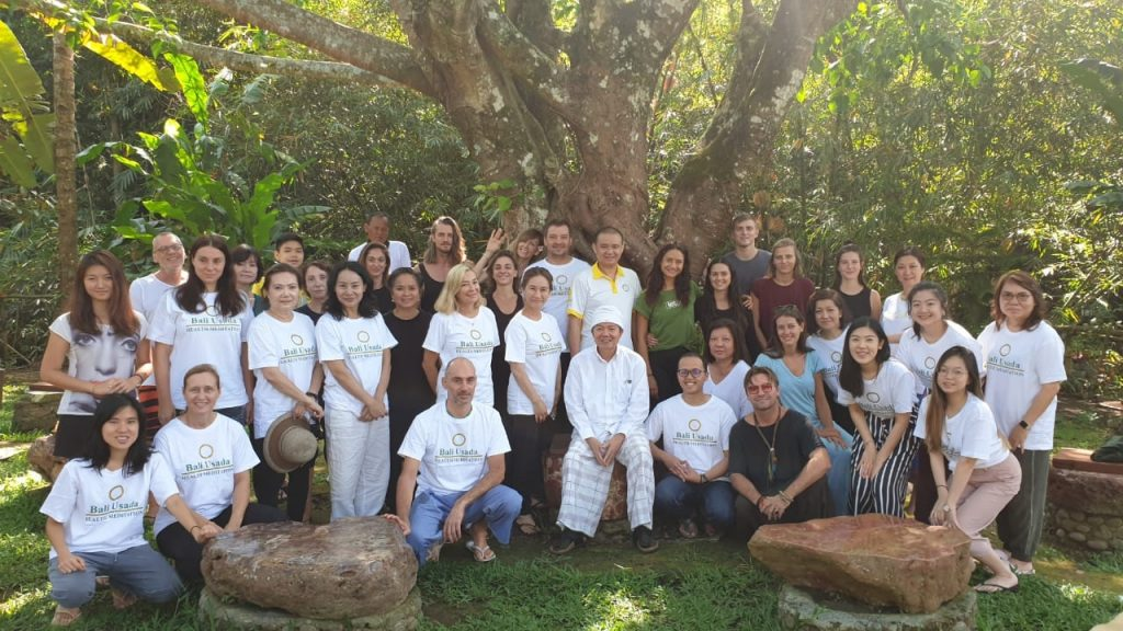 Our meditation group in front of the Bohdi tree